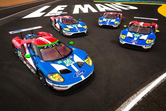 Ford GT-Fahrerkader wird 2017 bei den 24 Stunden von Le Mans mit vier Rennfahrzeugen antreten. The four Ford GTs at Le Mans.