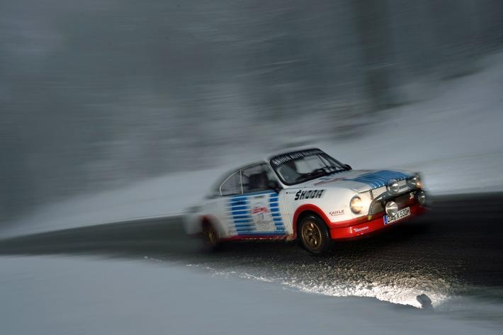 Der SKODA 130 RS aus dem Jahre 1976 wird bei der AvD-Histo-Monte vom siebenfachen deutschen Rallye-Meister Matthias Kahle gefahren.