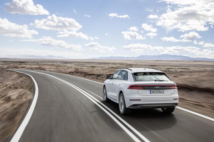 Audi erreicht solide Finanzzahlen im ersten Halbjahr 2018 und erwartet wachsende Herausforderungen. Im Bild: Der neue Audi Q8 erweitert das Modellangebot von Audi im Premium-Top-Segment.  Verbrauchswerte: Kraftstoffverbrauch kombiniert in l/100 km: 6.8 - 6.6; CO2-Emission kombiniert in g/km: 179 - 172 (Angaben zu den Kraftstoffverbräuchen und CO2-Emissionen bei Spannbreiten in Abhängigkeit vom verwendeten Reifen-/Rädersatz.).