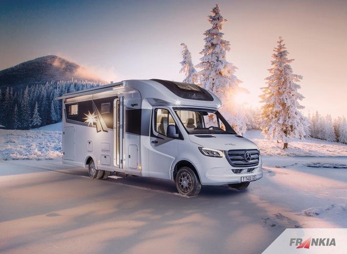 So nur bei FRANKIA und perfekt für Wintercamper: FRANKIA T 7400 - der Teilintegrierte 5-Tonner auf Mercedes-Benz mit traktionsstarkem Heckantrieb.