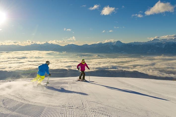 BILD zu OTS - Skifahren auf der Gerlitzen auf breiten, sicheren Pisten.